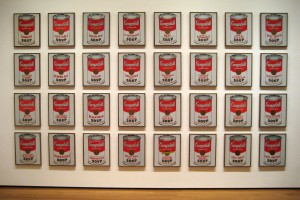 """Andy Warhol American, 1928-1987 Campbell's Soup Cans, 1962 Synthetic polymer paint on thirty-two canvases, Each canvas 20 x 16"""" (50.8 x 40.6 cm)."""